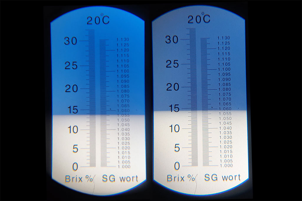 Homebrew before and after boil specific gravity measured with a refractometer