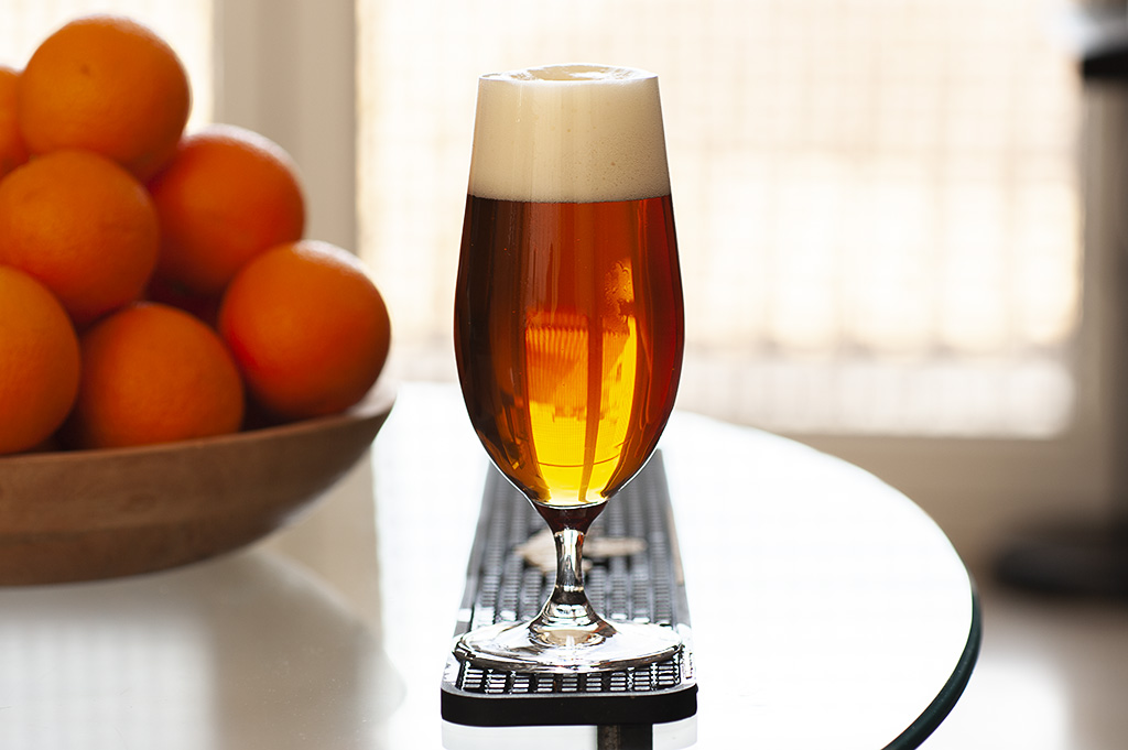 Conditioned homebrewed lager, a clean tasting Marzen beer